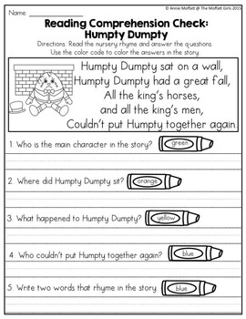 Word Work and Reading Comprehension with Nursery Rhymes: Humpty Dumpty