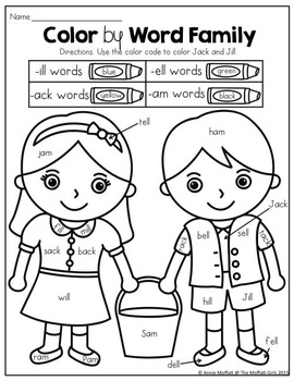 Word Work and Reading Comprehension with Nursery Rhymes: Jack and Jill