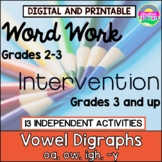 Phonics Word Work, Word Work for Third Grade, Vowel Digrap