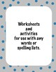 Word Work and Spelling Activities- Year 1