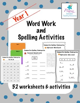 word work and spelling activities year 1 by pizazz teaching resources. Black Bedroom Furniture Sets. Home Design Ideas