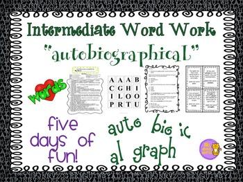 "Word Work and Vocabulary 5-Day Intermediate Unit ""AUTOBIOG"