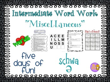 "Word Work  ""MISCELLANEOUS"" ---Schwa"