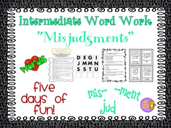 """Word Work and Vocabulary 5-Day Intermediate Unit """"MISJUDGMENTS"""""""