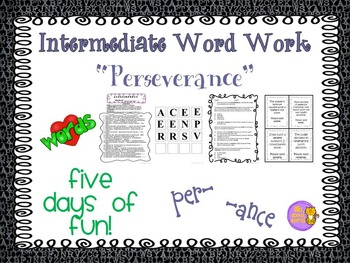 "Word Work and Vocabulary 5-Day Intermediate Unit ""PERSEVERANCE"""