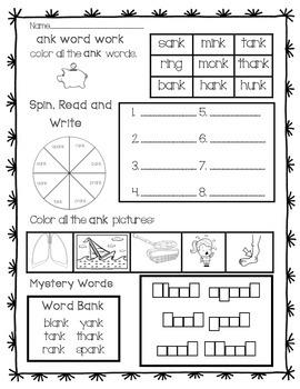 Word Work: ank