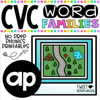 CVC Word Family 'AP' No Prep Phonics Printables