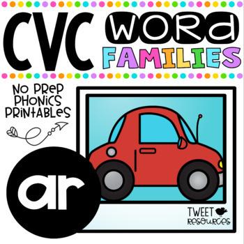 CVC Word Family 'AR' No Prep Phonics Printables