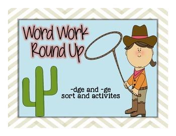 Word Work -dge, -ge sort
