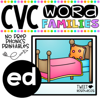 CVC Word Family 'ED' No Prep Phonics Printables