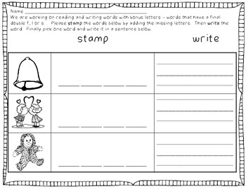 Word Work for Bonus Letters - words with double f, l, or s