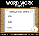 Word Work Worksheets for Centers Writing Spelling Reading Practice