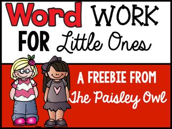 Word Work for Little Ones: Freebie for Kindergarten- 2nd grade