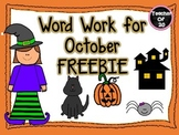 Word Work for October Center freebie