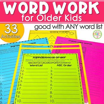 Word Work Activities for Older Students Word Work Centers