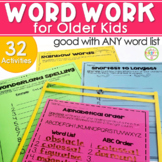 Word Work Activities for Older Students Word Work Centers