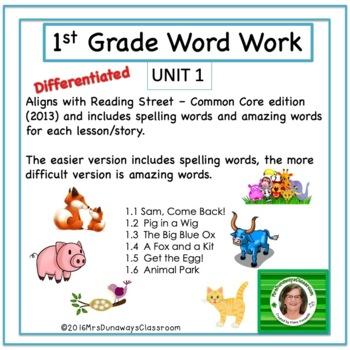 UNIT 1 Word Work  for Reading Street - Gr. 1