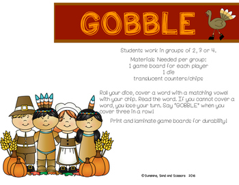 Word Work for Thanksgiving