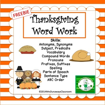FREEBIE Word Work for Thanksgiving