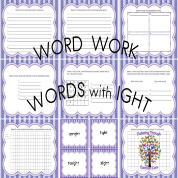 Word Work for Words With ight Phonological Awareness