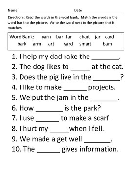 Word Work for 'ar' words