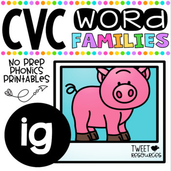 CVC Word Family 'IG' No Prep Phonics Printables