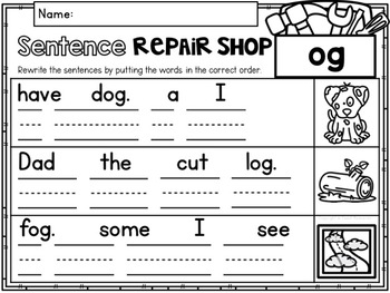 CVC Word Family 'OG' No Prep Phonics Printables