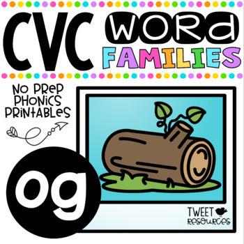 CVC Word Family 'OG' No Prep Phonics Printables