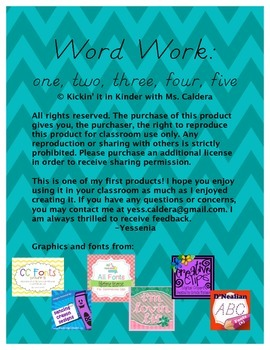 Word Work: one, two, three, four, five