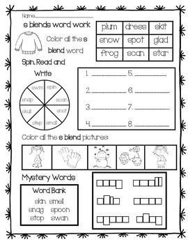 Word Work: s Blends Review