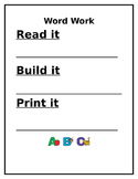 Word Work sheet for Phonics/Spelling/Decoding