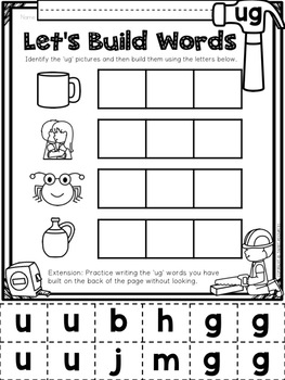 CVC Word Family 'UG' No Prep Phonics Printables