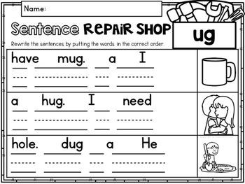 CVC Word Family 'UG' No Prep Phonics Printables
