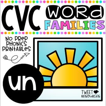 CVC Word Family 'UN' No Prep Phonics Printables