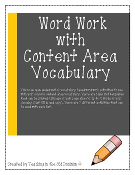 Word Work with Content Area Vocabulary