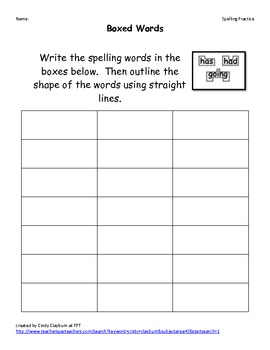 Word Work/Spelling Practice Sheets (11 pages)