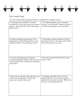 Word Workout Algebra 1 Stations - Word Problems and Solving Equations