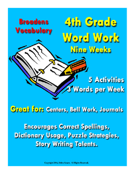 Word Work - 4th Grade - Nine Weeks - ELA