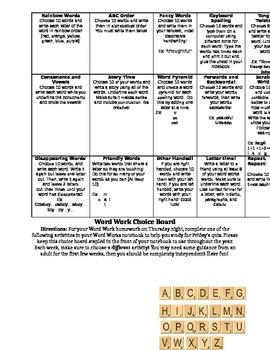 Word Works/Vocab Choice Board