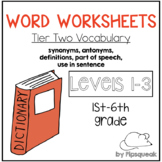 Word Worksheets BUNDLE (Levels 1, 2, and 3)