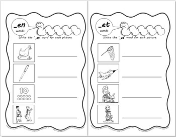 Word Worms: Word Sorts for Short Vowel Word Families- Set 2: -ed, -ell, -en, -et
