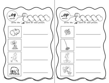 Word Worms: Word Sorts for Short Vowel Word Families- Set 4: -og, -op, -ot, -ock