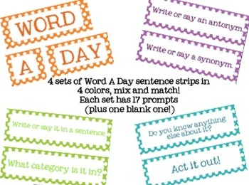 Word a Day or Week {Pocket Chart for Vocabulary}