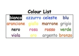 Word activities - list of colours in Italian