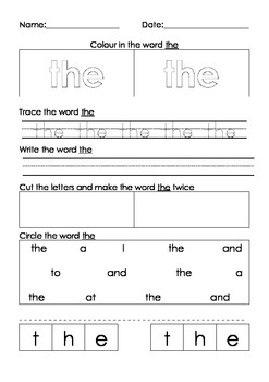 Word activties. Spelling, writing, tracing, word recognition (From 101 words)