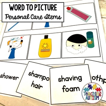 Autism Word Picture Matching Personal Care