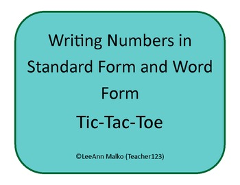 Writing Numbers in Word and Standard Form Tic-Tac-Toe