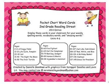 ReadingStreet 2013 Grade2 Spelling,Vocab,&Amazing Word PocketChart Cards Unit4-6