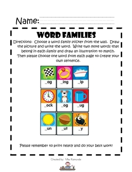 Word familes Cover Sheet
