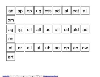 Word families File Folder activity - endings